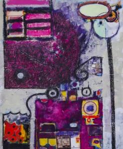 PAMELA PENGLASE BALDWIN On top of Things Mixed media; 17 x 14 inches $750