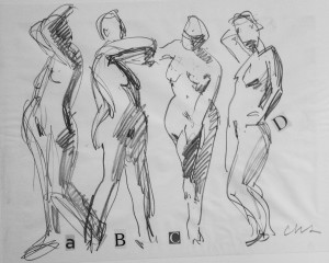 CHARLES SHURCLIFF  One Minute Poses; A, B, C...and D Graphite; 18 x 28 inches $1000