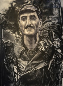 MARY SPENCER  Guns and Carnations Charcoal on rag paper, 30 x 22 inches $2000