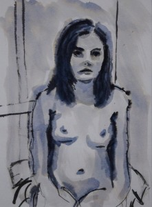 JANETTE MAXEY Seated Figure Ink on paper; 12 x 9 inches $300