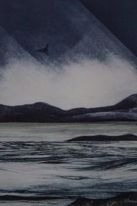 VIVIAN BERMAN  Along the Shore   Collagraph/collage; 14 x 9 inches $400