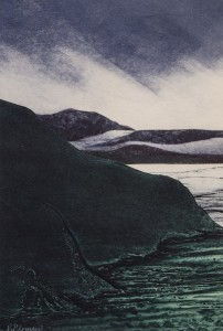 VIVIAN BERMAN Inlet  Collagraph/collage; 14 x 9 inches $400