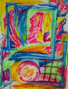 MOLLY GAYLEY Out the Window Oil stick on paper; 15 x 12 inches $250