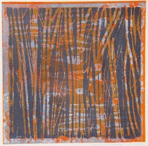 DIANE SAWLER McLAUGHLIN, Through the trees, monoprint; 8 x 8 inches, $400
