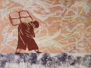 BARBARA CORRIGAN, Melilla, akva ink; 22 x 29 inches, $1,000
