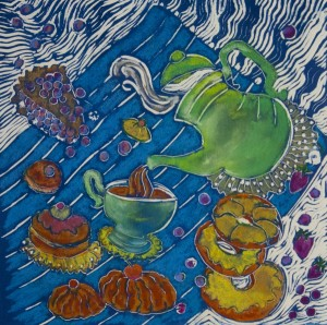 SARA COHEN, Flying Donuts, linoleum with pastel; 12 x 12 inches, $350