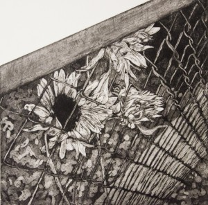 NANCY BEAMS, Build A Fence, etching aquatint; 12.5 x 12.5 inches, $350