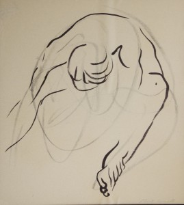 MARGOT KIMBALL, Folded Figure, charcoal & ink; 20 x 18 inches, $750