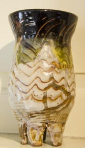 COLETTE A. SHUMATE-SMITH, Running Man, stoneware/temoku & shino glaze; 8 inches H