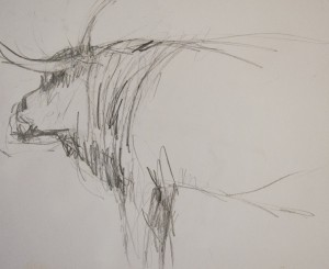 JENNY HART, Grande Old Breed, graphite; 14 x 17 inches, $75