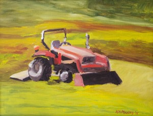 KATHLEEN A. MANLEY, Mower Ready I Oil on canvas; 9 x 12 inches; $650