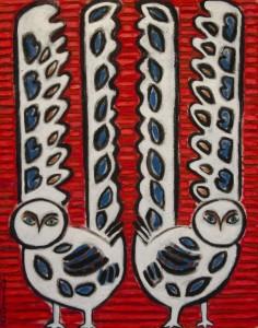 LYNNE D. KLEMMER. Inuit Influences: Dual Owls (#3) Pastel, charcoal, gouache, oil; 38 x 30 inches; $1,800