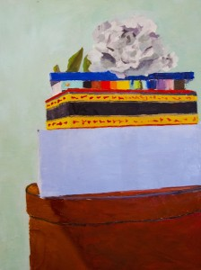 MIMI JIGARJIAN. Boxes, Book and Flower Oil on linen; 24 x 18 inches; $450