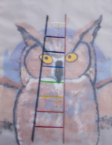 SIRI SMEDVIG.  Alignment #7 - Owl Paint on vellum layers; 14 x 11 inches; $600