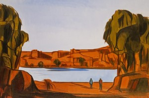MORGAN CHICKERING. Landscape - Two Figures Edge of River Oil on canvas; 29 x 43 inches; $2,000