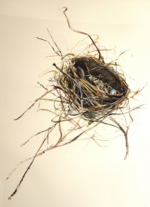 SUSAN MAXFIELD, Robin Nest - Storm Casualty Mixed media; 35 x 27 inches; $2,000